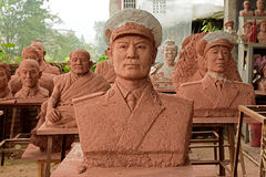 Yijing China-Clay sculpture of portrait Royalty Free Stock Image