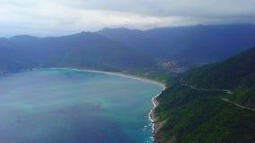 Yilan Coastline in Taiwan. Mountan Terrain of North East Sea Shore near Taipei City. Aerial View. Shot with a DJI Mavic fps 29,97 4k stock video