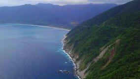 Yilan Coastline in Taiwan. Mountan Terrain of North East Sea Shore near Taipei City. Aerial View. Shot with a DJI Mavic fps 29,97 4k stock video footage
