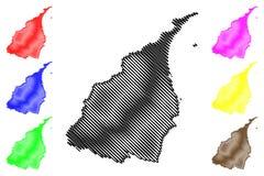 Yilan County klottrar administrativa uppdelningar av illustrationen för den Taiwan, Republiken Kina, ROC, län översiktsvektorn, s royaltyfri illustrationer