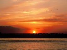yili de xinjiang de coucher du soleil de fleuve de porcelaine Photographie stock libre de droits