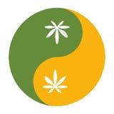 Yin и символ yang также известный как Taijitu как символ сработанности с коноплей листают Стоковые Изображения