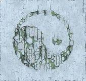 Yin и Yang: Треснутая краска на деревянной панели Стоковое фото RF