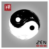 Yin And Yang Circle Symbol . Sumi E Style And Ink Watercolor Painting Design . Red Square Stamp With Kanji Calligraphy Chinese . Royalty Free Stock Images