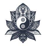 Yin d'annata e Yang in Lotus royalty illustrazione gratis