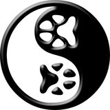 Yin de yang de la impresión de la pata Fotos de archivo