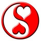 Yin del yang del cuore di amore Fotografia Stock