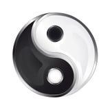 Yin e ícone lustrosos isolados de yang  Imagens de Stock Royalty Free