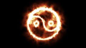 Yin e Yang Symbol Lighting ascendentes e Burning nas chamas ilustração royalty free