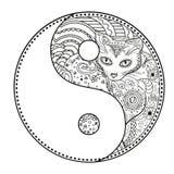 Yin e yang Zentangle Fotografia de Stock