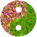 Yin en het bloemen geïsoleerde symbool van Yang Royalty-vrije Stock Foto