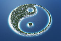 Yin en Yang-eiland stock afbeeldingen