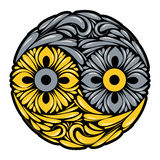 Yin en yang symbool met krullen royalty-vrije illustratie
