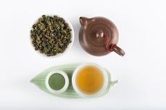 Yin i Yang herbaty ustalony odgórny widok Fotografia Royalty Free