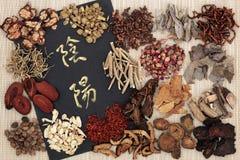 Yin och Yang Chinese Herbs arkivbild