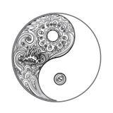Yin och yang dekorativt symbol Hand dragen beståndsdel för tappningstildesign Alkemi andlighet, ockultism, textilkonst vektor vektor illustrationer