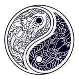 Yin och yang dekorativt symbol Hand dragen tappningstildesign Royaltyfri Bild