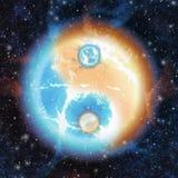 Yin och yang - föreningspunkt av kosmisk energi stock illustrationer