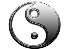 Yin u. Yang-Metall Stockfotos