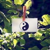 Yin und Yang-Symbol auf einer weißen Karte, die von einem belaubten Grün b hängt Stockbild