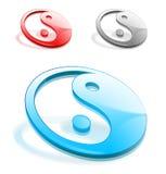 Yin y símbolos de yang en 3d Foto de archivo libre de regalías