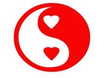 Yin yan de la tarjeta del día de San Valentín Imagen de archivo libre de regalías
