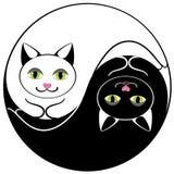 Yin yan dos gatos ilustração stock