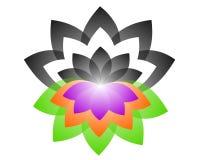 Yin yang логотипа лотоса иллюстрация штока