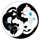 Yin yang με τις γραπτές γάτες neko maneki Στοκ Εικόνες