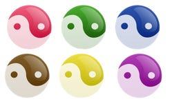 yin yang кнопки лоснистое иллюстрация вектора