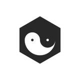 Yin Yang на черном векторе Стоковое фото RF