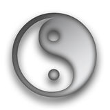 Yin and Yang. Ying Yang symbol in metallic silver Royalty Free Stock Images