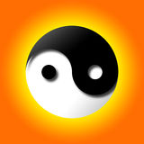 Yin Yang. Illustration on orange and yellow background. Clipping paths are available in jpeg file for isolation. Black part has a dimension and shadow to add Stock Photos
