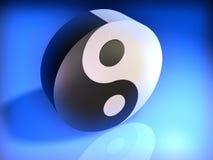 Yin Yang 3. Conceptual Yin Yang cubic simbol on glowing blue background - 3d render Royalty Free Stock Images