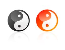 Yin yang. Isolated shiny yin yang signs Stock Image