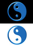Yin and yang. Symbol in aqua style on white and black background Royalty Free Stock Photography