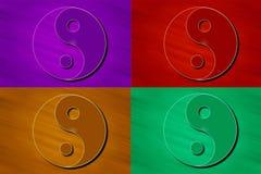 Стилизованные символы Yin Yang в цвете Стоковое Изображение