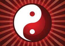 Yin and yang. Symbol in rays background Royalty Free Stock Photography