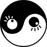Yin and yang. Vector illustrated yin and yang symbol with eyes Royalty Free Stock Images