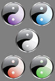 Yin Yang. Set of 5 yin yang buttons Royalty Free Stock Photography