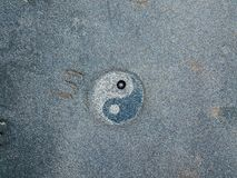 Yin and Yang. Aerial view of black stone beach, Nonza, geometric designs made with stones Royalty Free Stock Images