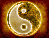 Yin and yang background. Yin and yang symbol on old paper grunge Royalty Free Stock Photo
