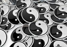 Yin yang badges. Mass of badges with yin yang symbol Royalty Free Stock Photography