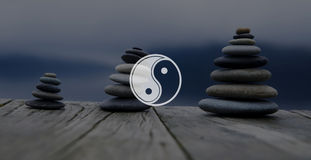 Yin Yang Balance Contrast Opposite Religion Culture Concept.  stock images