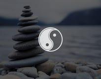 Yin Yang Balance Contrast Opposite Religion kulturbegrepp royaltyfri bild