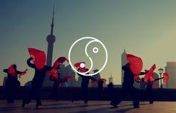 Yin Yang Balance Contrast Opposite Religions-Kultur-Konzept Lizenzfreie Stockfotos