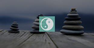 Yin Yang Balance Contrast Opposite Religions-Kultur-Konzept Stockfotografie