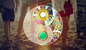 Yin Yang Balance Religion Traditional Nature begrepp arkivbilder