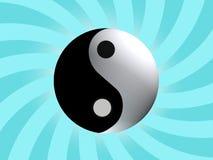 Yin Yang Balance Symbol. Yin Yang Balance with cyan rising background Royalty Free Stock Photography
