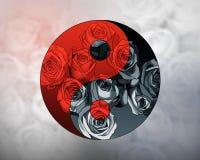 Yin Yang - Balance. Yin Yang - Symbol of Balance with roses Stock Photo